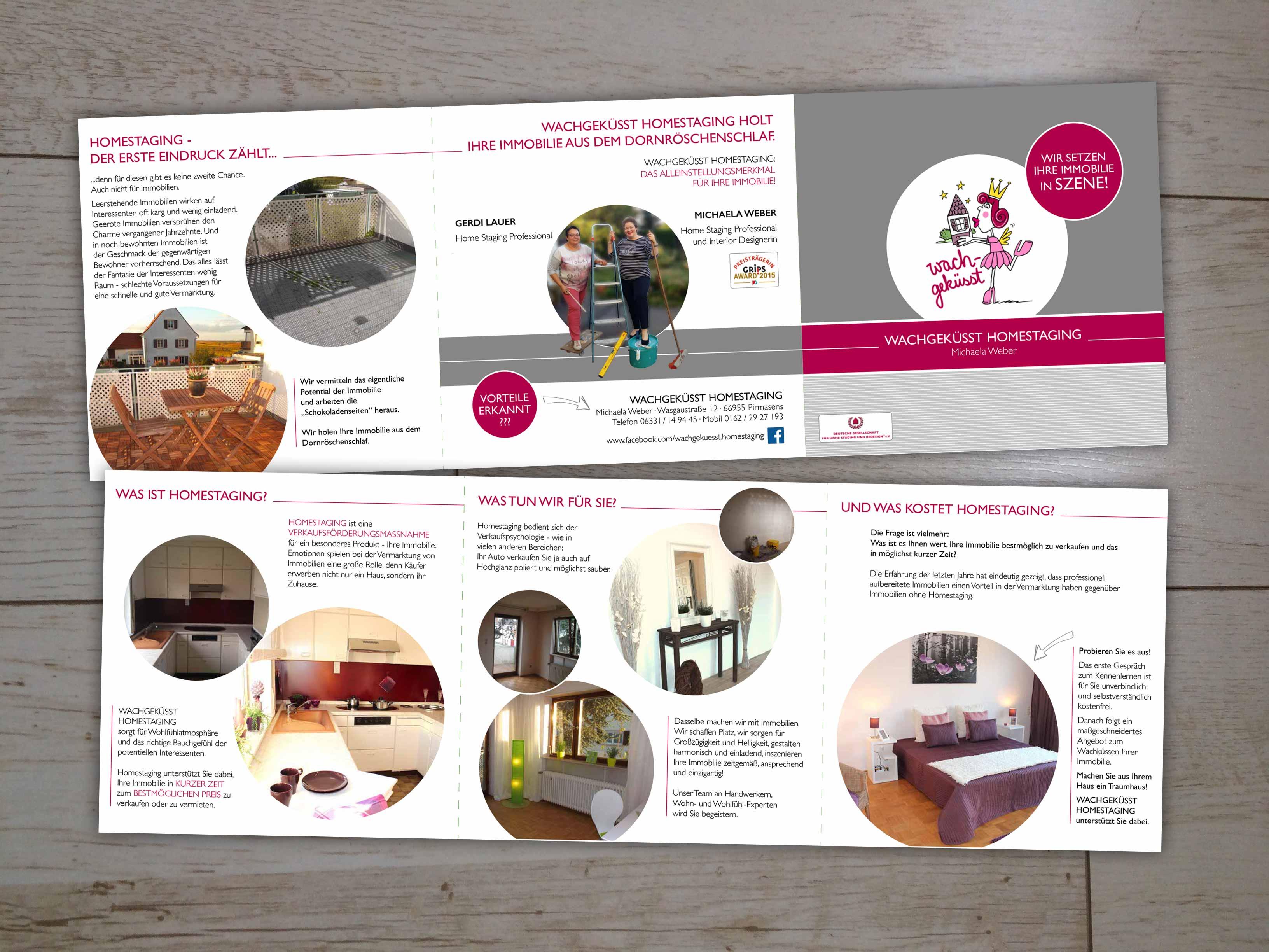 Wachgeküsst Homestaging Flyer In Quadratform Print Design Saarland